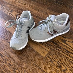 New Balance Gray w/ Rose Gold 574 Sneakers